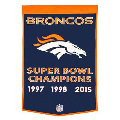 Denver Broncos Super Bowl 50 Champions 3-Time Champs Dynasty Banner