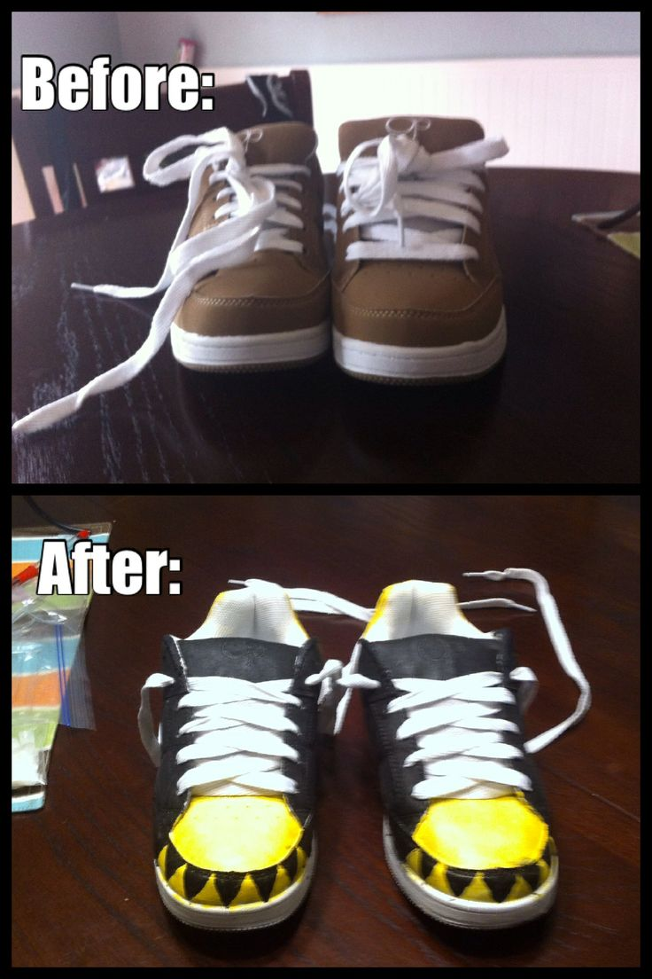 Soul eater shoes before and after! (Made from cheap $9.00 clearance shoes from Walmart and fabric paint!!!)