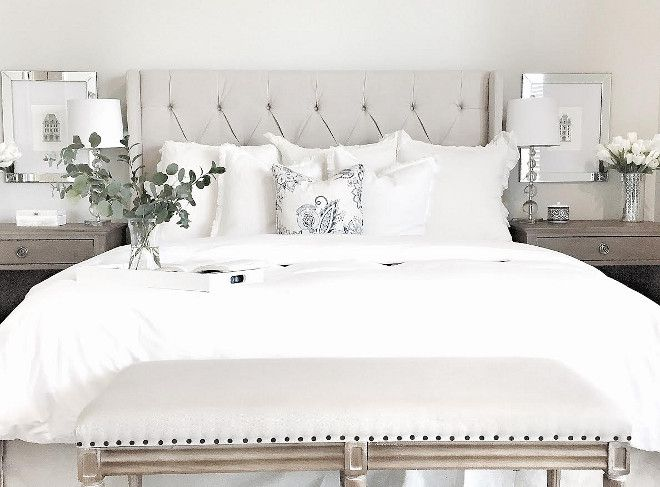 White Bedding Styling Ideas. White Bedding. Bedroom with white bedding. White bedding duvet is from Target. White shams are from Anthropologie. #Whitebedding
