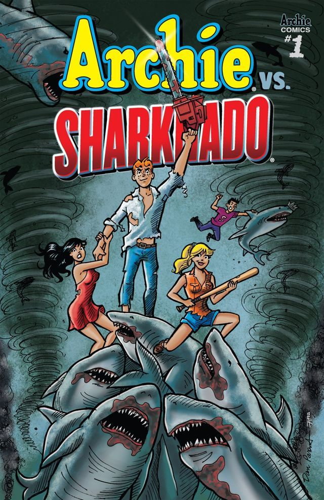 "Archie VS. Sharknado #1 It's that time of year in Riverdale! The end of the school year. Time for beaches, barbecues, fun in the sun and... SHARKNADOS!?! That's right, get ready as Archie and the gang brave the storm of a tornado full a sharks that riffs off the pop culture phenomenon known as Sharknado! The story unfolds as sharknados are spotted on the ""Feast"" Coast! Our heroines have to figure out how to get back to Riverdale, where the storm is about to hit next. Soon Archie and the gang…"