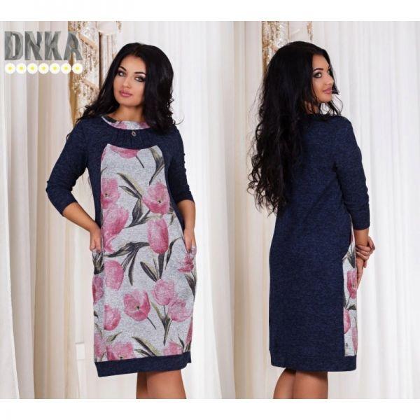 Красивое женское платье ровного кроя с карманами темно-синий+розовые тюльпаны