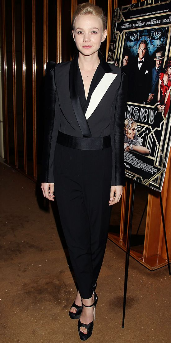 05/06/13: Carey Mulligan suited up in Lanvin's strong-shouldered design at a New York screening of The Great Gatsby. #lookoftheday
