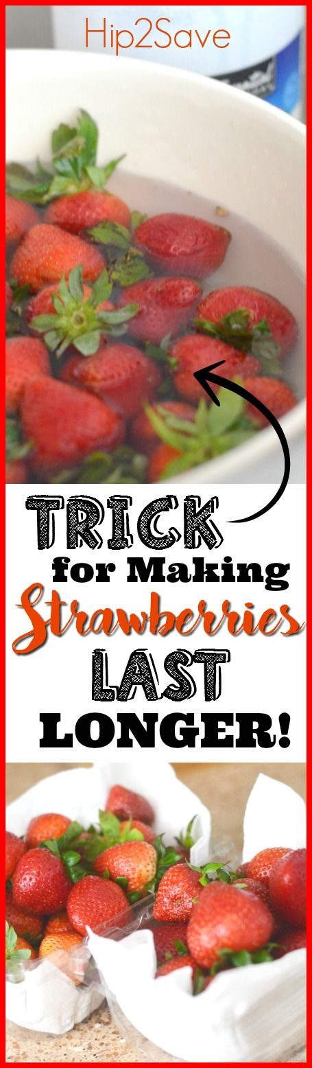 Make Your Strawberries Last Longer – 1 part vinegar + 5 parts water. Soak for few minutes and then let them air dry completely.