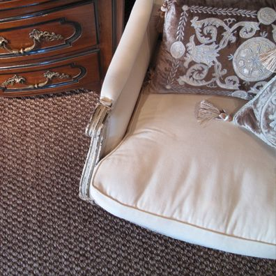 """""""....The colour combination of the silvery grey woven through the warmer brown means that its the perfect backdrop for either polished wood or pale painted furniture. The lovely organic feel of the large weave sits so well with good early antiques, and always achieves the look we're after: stylish, timeless and inviting"""" – Chrystelle Baran, Interior Designer and owner, Baran De Bordeaux French Antiques, Parnell  www.artisanflooring.co.nz/carpet/110961/"""