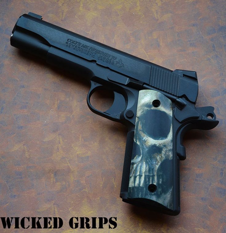 """CUSTOM 1911 GRIPS GRAPHIC ART """"FULL SKULL FACE"""" LIMITED SERIES - Wicked Grips…Loading that magazine is a pain! Get your Magazine speedloader today! http://www.amazon.com/shops/raeind"""
