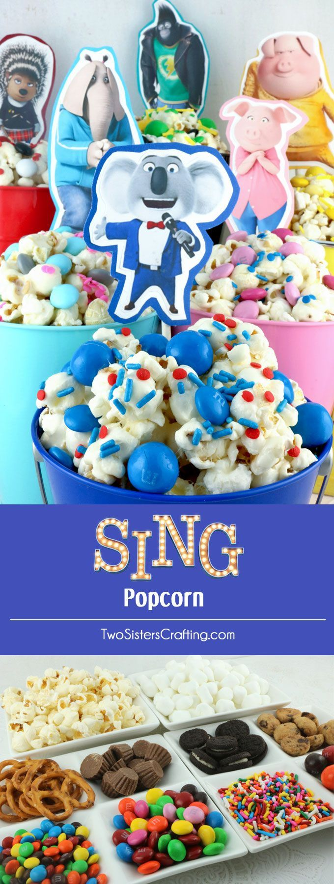 Sing Popcorn - fun and delicious.  This is a sweet and salty popcorn mixed with colorful candy mix-ins.  It is both yummy and adorable, a great combination!  A fun anytime snack that would also be a great Party food at a Sing Birthday Party or a special treat for a Sing Family Movie Night.  Pin this easy to make dessert for later and follow us for more great Popcorn Recipe Ideas.