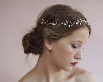 Boho Gold Halo Hair Vine Flower Crown Gold or by LottieDaDesigns
