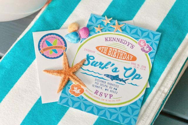 Anders Ruff Custom Designs, LLC: A Girly Surfing Birthday Party Invitation Surf Club Surfer Girl Sharks