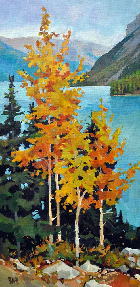 Gold on Minnewanka 10 x 20. Acrylic on Canvas. Banff, Alberta
