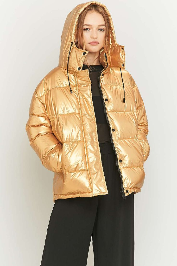 Light Before Dark Metallic Gold Puffer Jacket Down