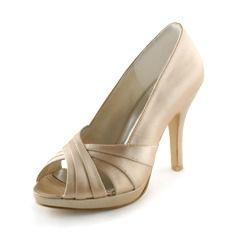 Wedding Shoes - $48.99 - Women's Satin Cone Heel Peep Toe Platform Sandals  http://www.dressfirst.com/Women-S-Satin-Cone-Heel-Peep-Toe-Platform-Sandals-047005396-g5396