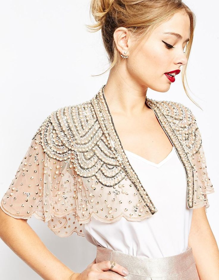 Image 1 of ASOS Bridesmaid Pretty Embellished And Pearl Cape