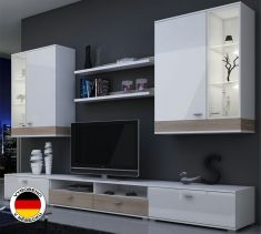 obývací stěna Ansberg dub sonoma + bílý mat / bílý lesk