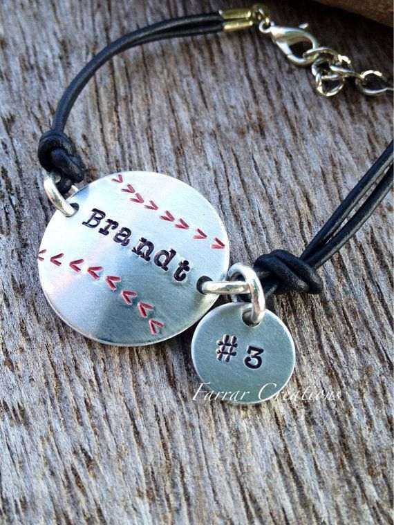 Personalized Baseball Bracelet hand stamped, Softball Bracelet, Mom, daughter, son on Etsy, $29.00. So cool: spells Brandt like I do and has his number. Found on etsy