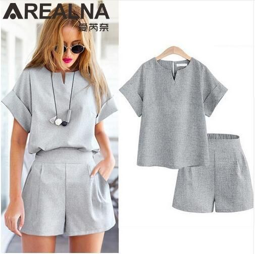 Bohemian Women Summer Casual Cotton Linen V-neck short sleeve tops + shorts two piece set Female Office Suit Set Women's Costumes