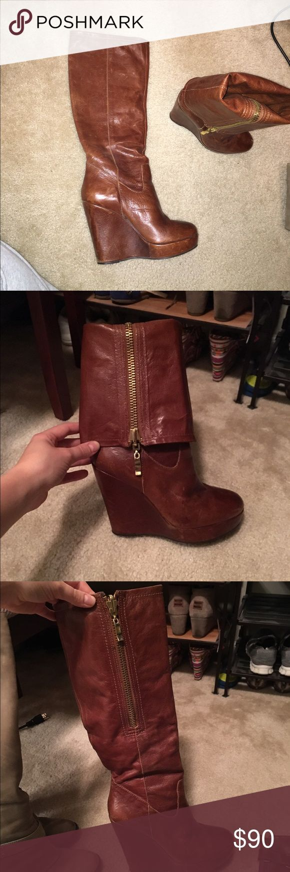 Steven (Madden) leather boots Size 8.5, wedge heel, great condition, so comfortable and easy to walk in. Gold zipper. Can be folded down and worn multiple ways as knee high or as bootie. Steve Madden Shoes Heeled Boots