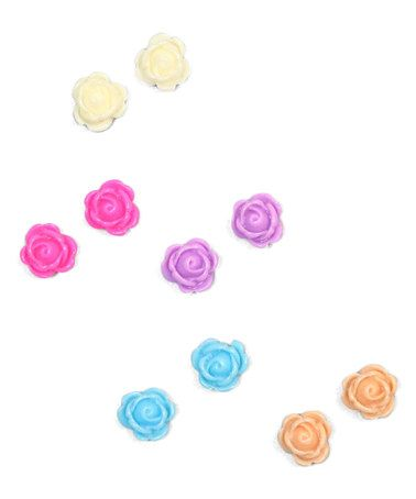 charlotte rose couture This Hot Pink & Blue Dainty Flower Stud Earring Set is perfect! #zulilyfinds