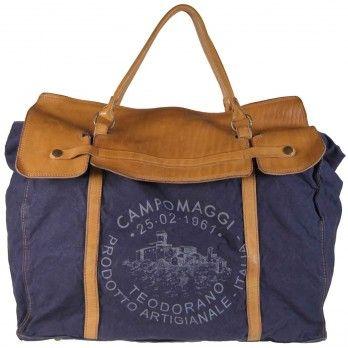 Campomaggi B. Manici Canvas Weekender Blue Herrentaschen Weekender Herren Campomaggi