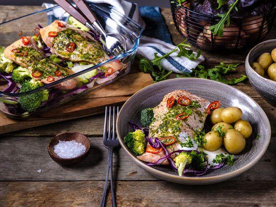Dette er en enkel oppskrift som fort blir en favoritt. Ovnsbakt laks med grønnsaker og poteter en god hverdagsmiddag, som gleder både liten og stor.