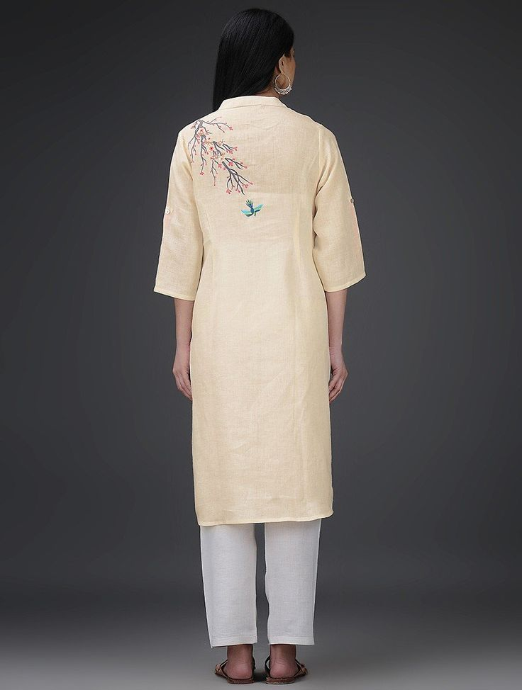 Buy Cream Ivory Pink Yellow Roll Up Sleeve Embroidered Linen Kurta Online at Jaypore.com