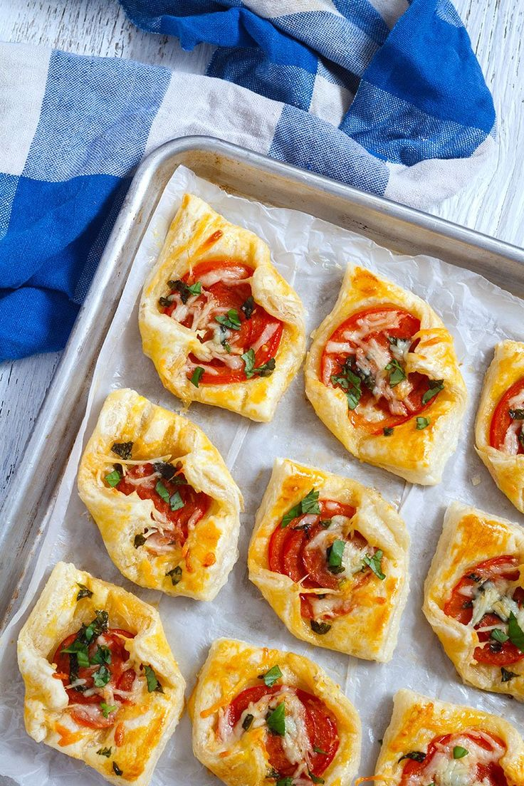 Pepperoni Basil Tomato Puffs recipe