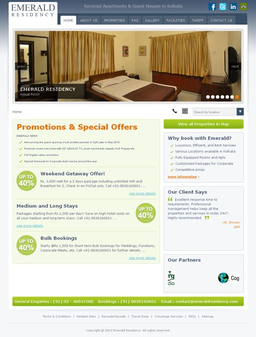 Website Design and Development for Emerald Residency