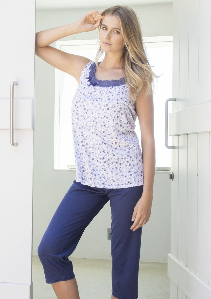 Nota Summer Pajamas with lace trim in 50%Cotton 50%Modal (Viscose)