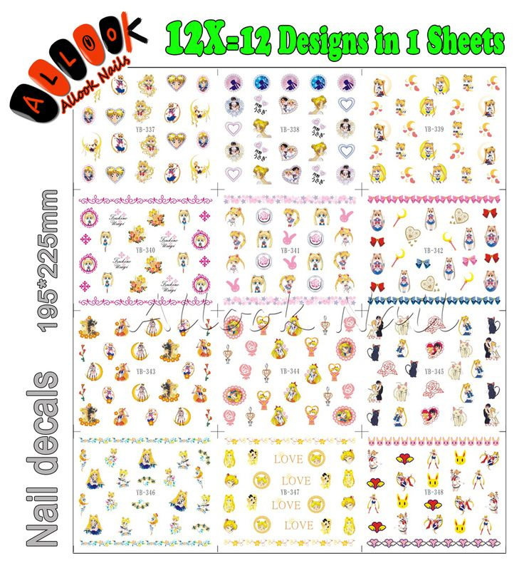 Sticker For Nail(Large Piece YB337-348 12 DESIGNS IN 1)Sailor Moon Cartoon Girl Nail Art Water Sticker Decal for Nail Art