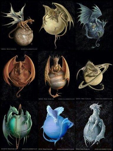 Solar System Dragons - Rob Carlos Fantasy Art