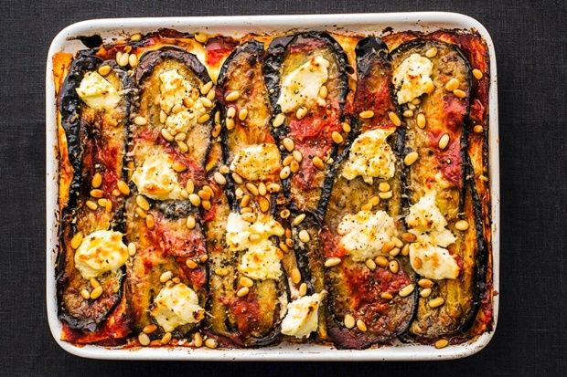 Aubergine and ricotta lasagne. Recipe taken from Italian Cooking School: Pasta by the Silver Spoon Kitchen