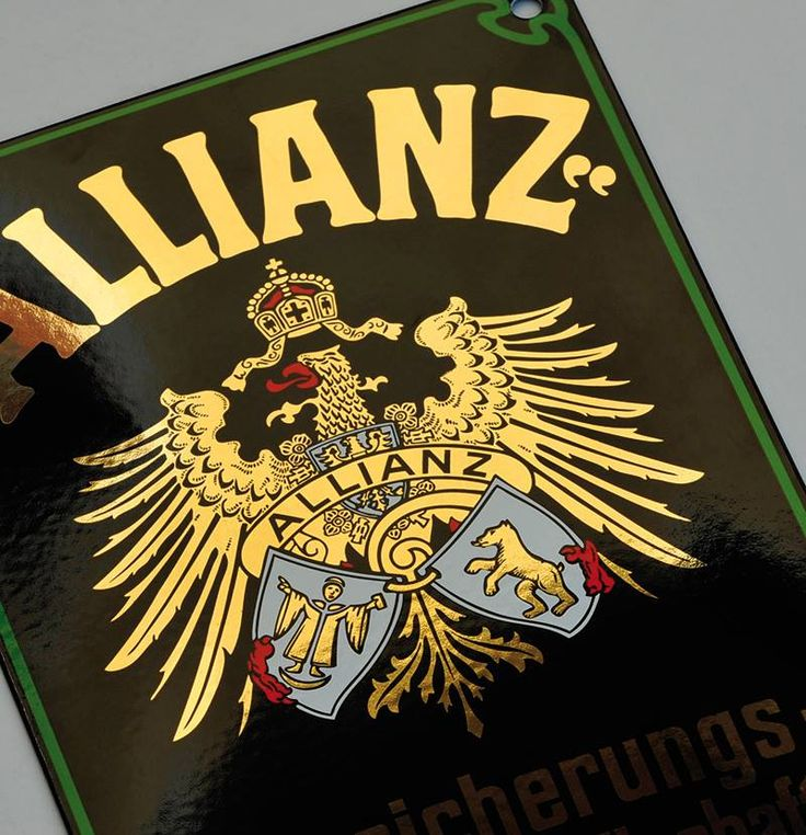 Allianz - porcelain enamel sign with real gold
