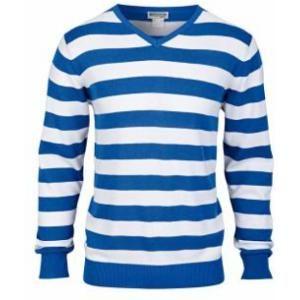 Le pull col en V (blanc), Pull homme en maille fine sur www.shopwiki.fr ! #homme #mode_hiver #pull #rayures