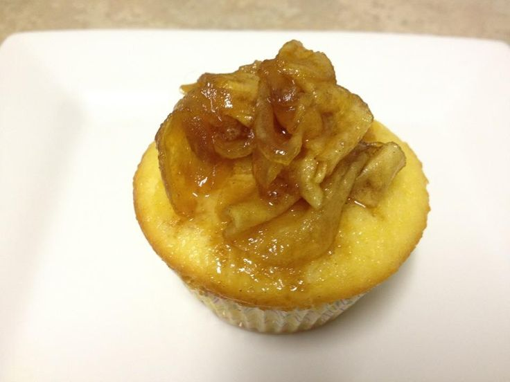 Marzipan cupcakes with caramelised cinnamon apples! They were YUM!
