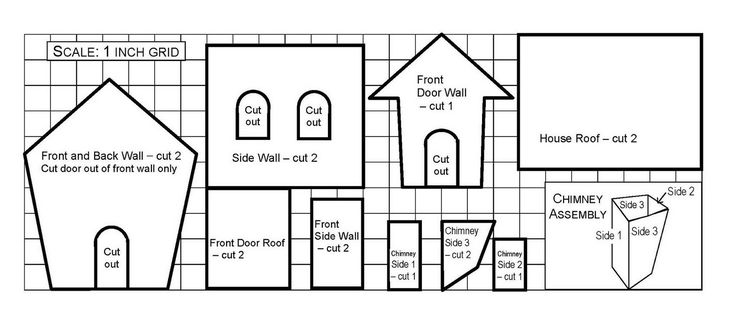 gingerbread house template and pattern with chimney | Gingerbread House Template