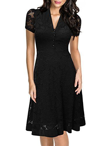 Miusol Women's Cap Sleeve fifties Design and style Classic Black Lace A-line Gown