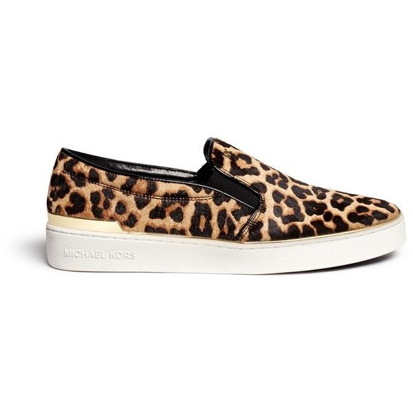 Michael Kors 'Kyle' cheetah print calf hair slip-ons (855 VEF) ❤ liked on Polyvore featuring shoes, sneakers, flats, animal print, flat pumps, slip on sneakers, animal print flat shoes, animal print flats and cheetah slip on sneakers