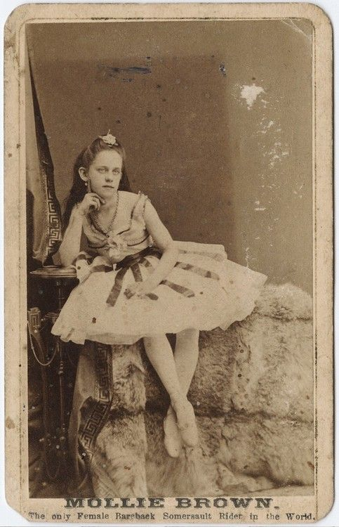 """ca. 1855-95, [carte de visite portrait of """"Little Molly Brown"""", the only female bareback somersault rider in the world], Watkins' Yosemite Art Gallery  via the Yale Collection of Western Americana, Beinecke Rare Book and Manuscript Library, Carl Mautz Collection"""
