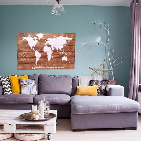 Wood World Map Wall Art / Large Wall Art Map / Reclaimed Wood