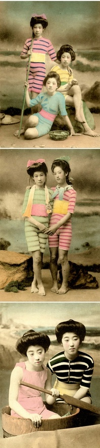 Actual photographs from the early 1900s of Geishas in swimwear.  Apparently this was all the rage to photograph back in Japan during the Meiji and Taisho Eras.