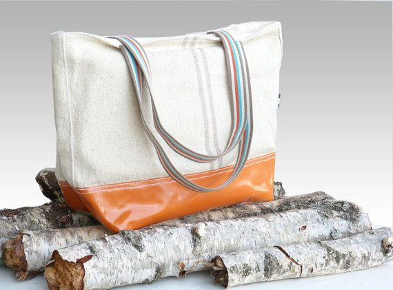 AMBER Orange leather market tote bags  ecru cotton by dawnaparis, €55.00
