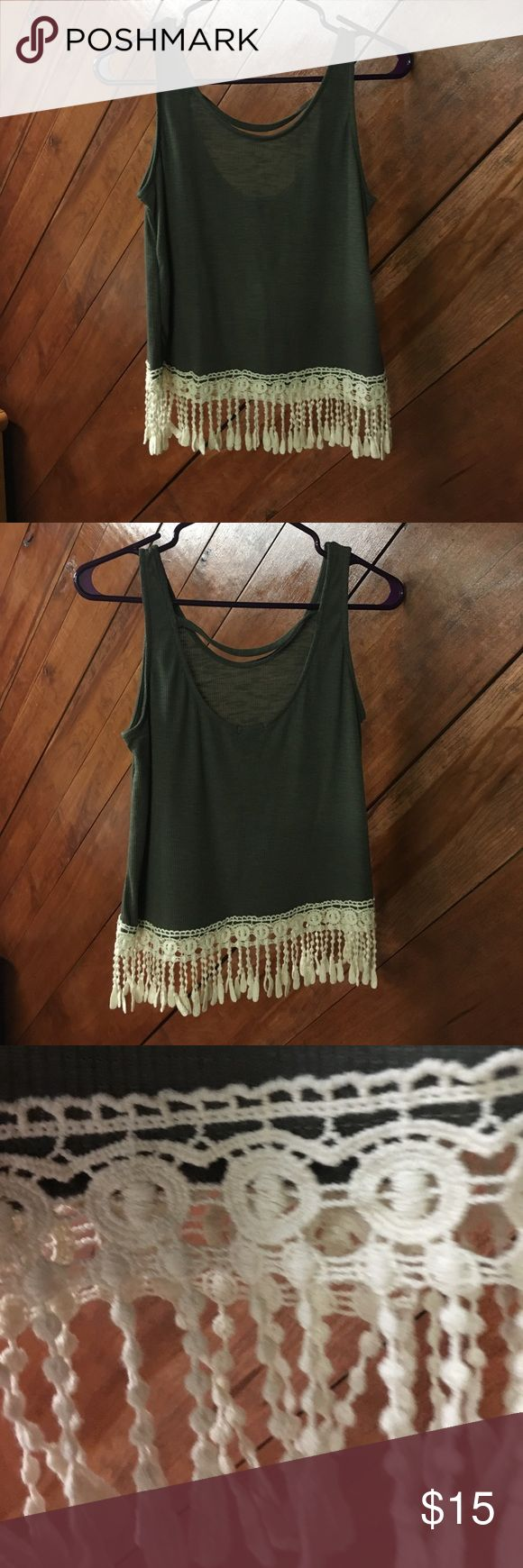 NWT Rue 21 tank army green Rue 21 tank top. crochet fringe detail at the bottom. size medium. NWT. Rue 21 Tops Tank Tops