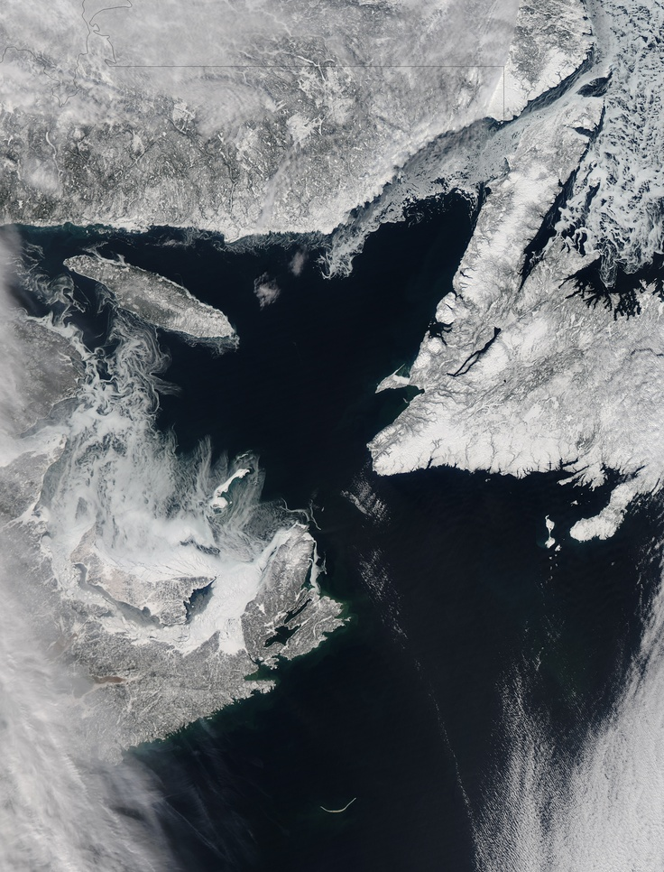 Every year, Arctic sea ice shrinks and grows, reaching its minimum in September and its maximum in February or March. As sea ice nears its maximum, it often begins to form in Canada's Gulf of St. Lawrence. That's likely what was happening when the Moderate Resolution Imaging Spectroradiometer (MODIS) on NASA's Aqua satellite acquired this natural-color image on February 11, 2013.
