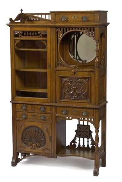 Oak Aesthetic Movement Secretary Bookcase.