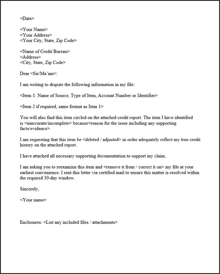 Credit Dispute Sample Letter 2020's Updated Template