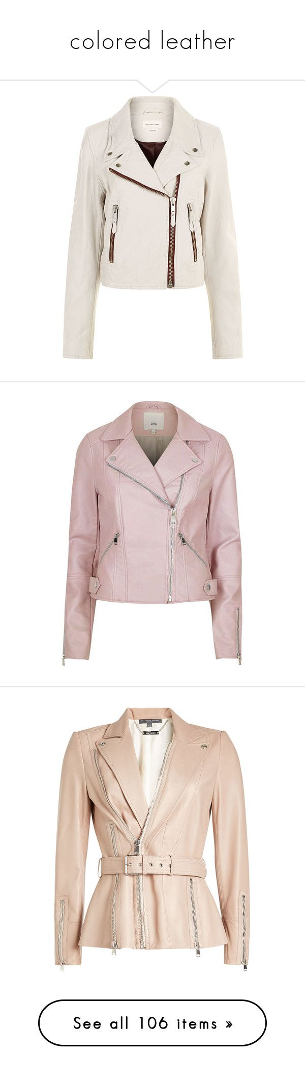 """""""colored leather"""" by heloisacintrao ❤ liked on Polyvore featuring outerwear, jackets, studded leather jacket, leather moto jackets, white moto jacket, jersey jacket, draped leather jacket, coats / jackets, pink and women"""