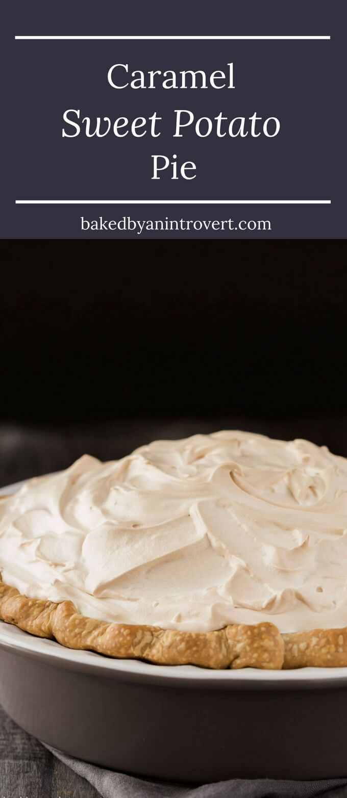 This Caramel Sweet Potato Pie is richer and more flavorful that a traditional sweet potato pie. You won't believe how indulgent this popular Thanksgiving treat can be. Try a slice of this sweet potato pie layered with caramel and meringue and you'll be hooked. This is one of the best desserts to try this fall!