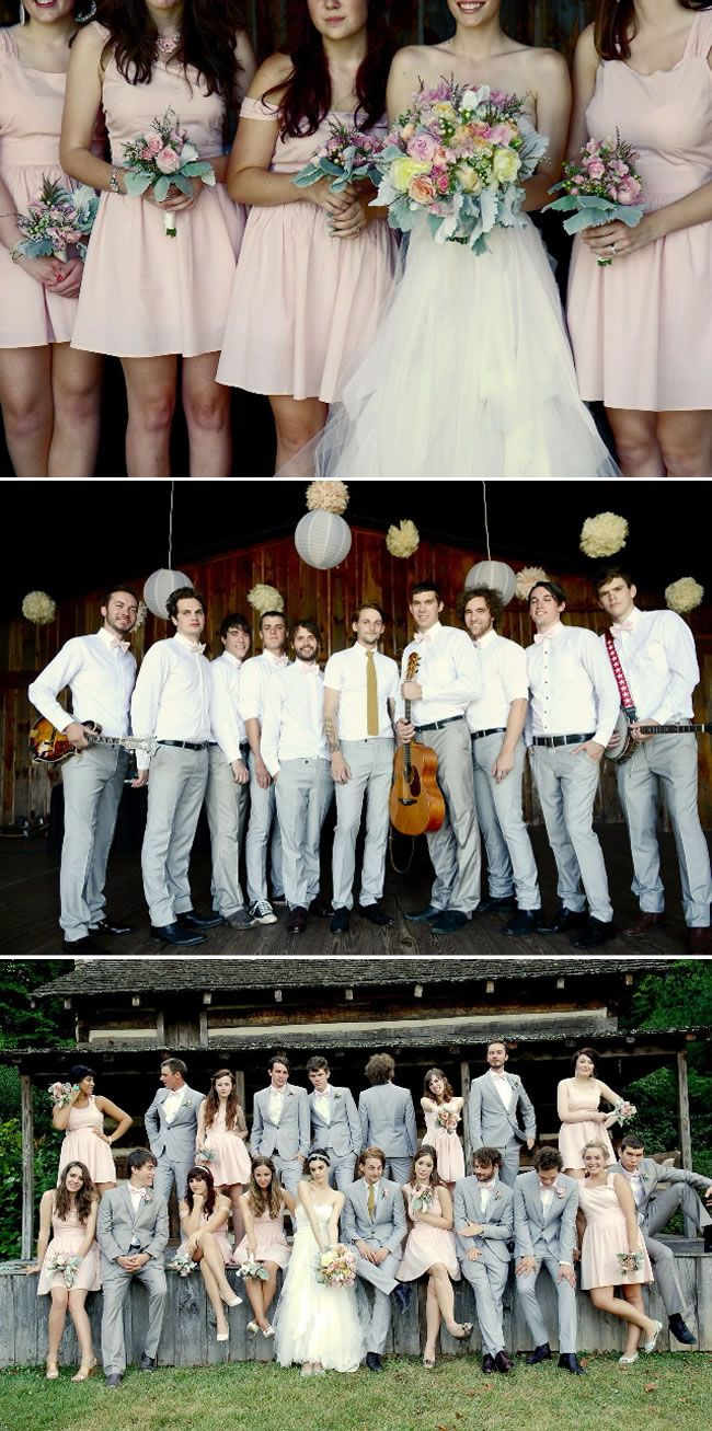 girls pink and guys grey wedding party. Love there colors!!