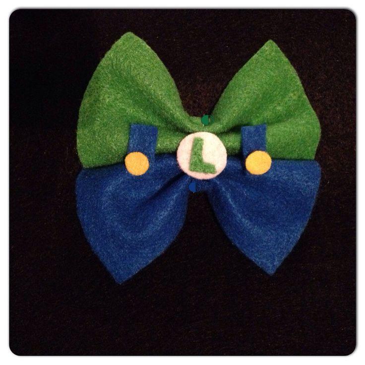 Super Mario Bros Luigi Inspired Bow- Felt Hair Bow or Clip On Bow Tie by MCSweetPeas on Etsy