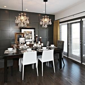 Sabal Homes - dining rooms - yellow and gray dining room, gray and yellow dining room, full wall wainscoting, wall of wainscoting, floor to ...
