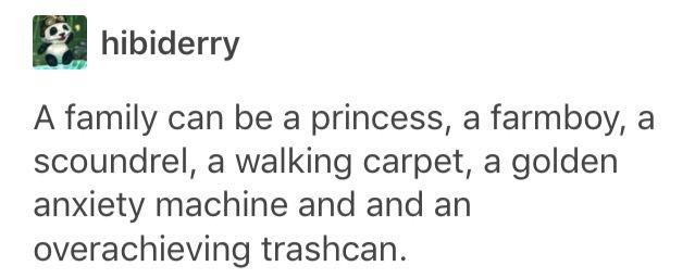 A family can be a princess, a farmboy, a scoundrel, a walking carpet, a golden anxiety machine and an overachieving trashcan.
